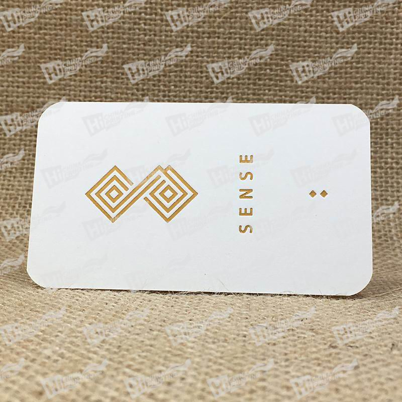 350g Smooth White With Gold Foil And Debossing Business Cards
